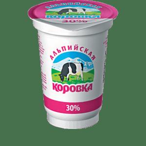 Сметанный продукт 30% 400гр Альпийская Коровка