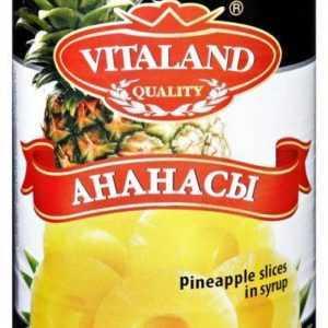 Ананасы консервированные кольцами 565гр VITALAND