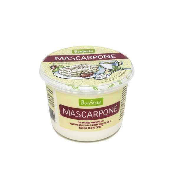 Сыр Маскарпоне 40% 500 г Bonfesto