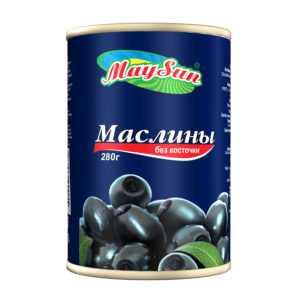 Маслины черные без косточки 300гр MaySun