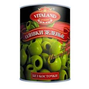 Оливки зеленые без косточки 300гр VITALAND