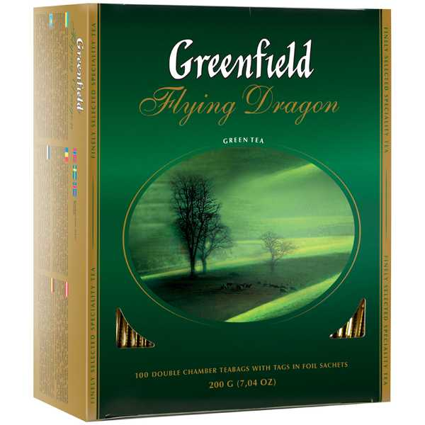 Чай Гринфилд зеленый Флаинг Драгон 100пак