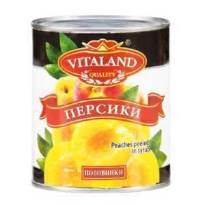 Персики консервированные 850мл VITALAND