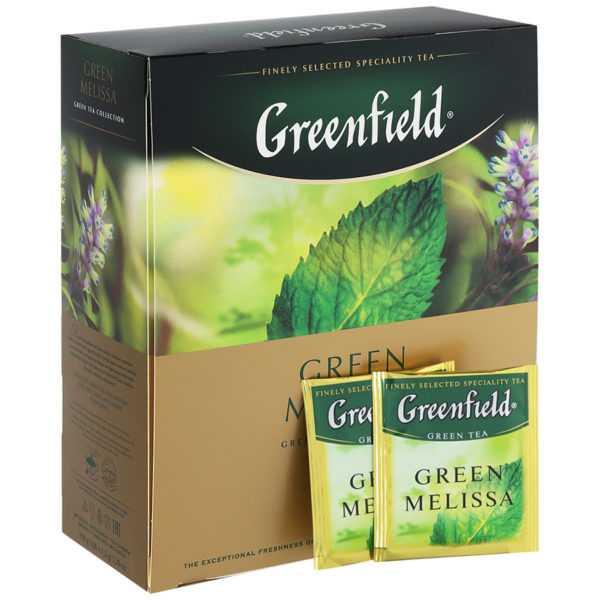 Чай Гринфилд зеленый с мелиссой 100пак