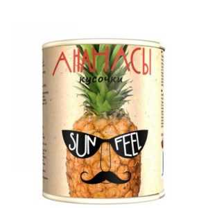 Ананасы консервированные кусочки 580гр Sunfeel